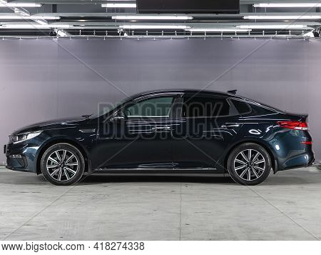 Novosibirsk, Russia - April 25 2021: Kia Optima, Side View. Photography Of A Modern Car On A Parking