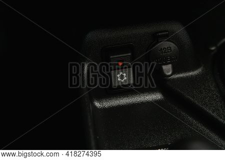 Novosibirsk, Russia - April 25 2021: Lada  Niva 4x4 , Close Up Of A Charging In The Car, Buttons