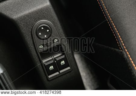 Novosibirsk, Russia - April 25 2021: Lada  Niva 4x4 , Car Door Interior Armrest With Window Control