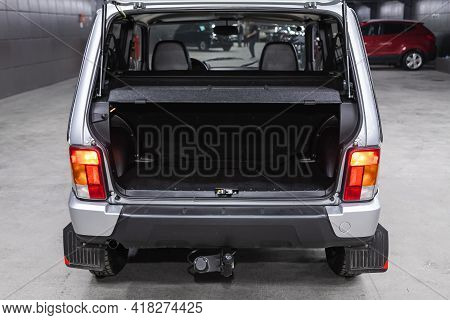 Novosibirsk, Russia - April 25 2021: Lada  Niva 4x4 , Rear View Of A Car With An Open Trunk. Exterio