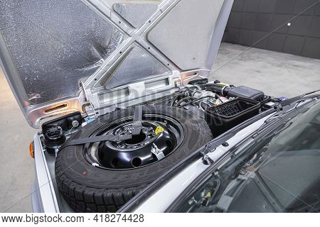Novosibirsk, Russia - April 25 2021: Lada  Niva 4x4 , Close Up Detail Of  Car Engine, With Spare Whe