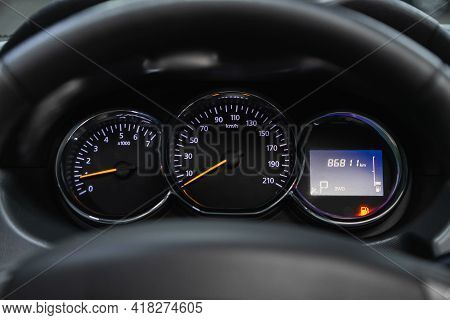 Novosibirsk, Russia - April 25 2021: Renault Duster, Car Dashboard With White  Backlight: Odometer,