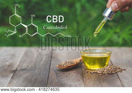 Cbd Elements, Hand Holding Pipette With Cannabis Oil Against Cannabis Plant. Cbd Oil Hemp Products,
