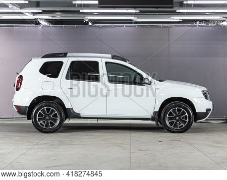 Novosibirsk, Russia - April 25 2021: White Jeep Renault Duster, Side View. Photography Of A Modern C