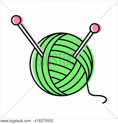 Yarn And Knitting Needles. Needlework. Sewing And Repairing Clothes