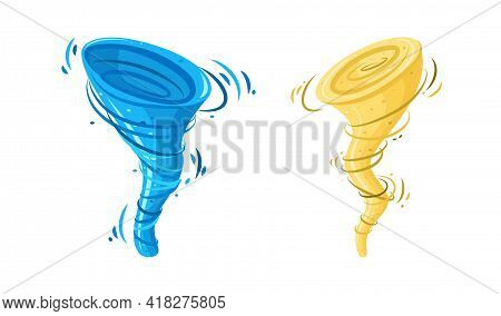 Whirlwind Sandstorm And Whirlpool Tsunami. Dust Storm And Water Vortex Isolated In White Background.