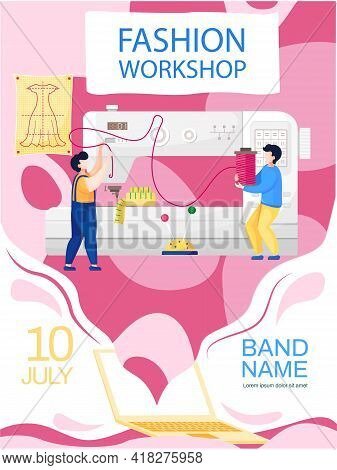 Men Are Working With Sewing Machine In Tailoring Studio. Fashion Workshop Concept Poster. Website Wi