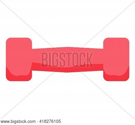 Pink Rubber Dumbbell For Sports Isolated On White Background. Sports Equipment For Training In Gym.
