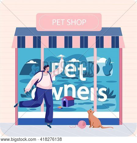 Pet Shop Concept, Awning With Domestic Animals Accessories Store Indoors Flat Vector Illustration. W