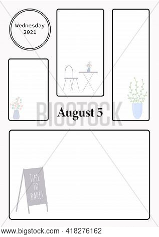 Wall Calendar Page Template With Seasonal Graphics For Month. August Summer Themed Calender Page. Di