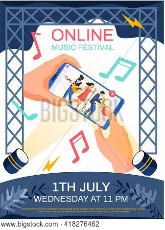 Online Music Festival Concept Poster. Band Performs In Concert. Person Watching Video Of Musical Gro