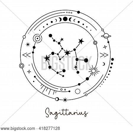 Solar System With Sagittarius Constellation. Astrological Zodiac Sign. Vector.