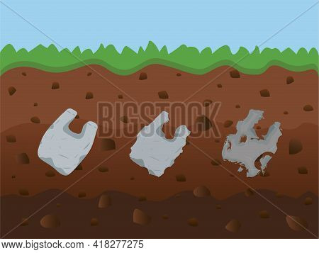 Plastic Gabs Packaging. Pollution Illustration Trash Under The Soil Template With Garbage, Bags, Was