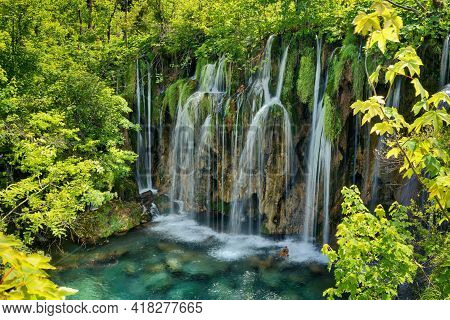 A Mesmerizing View Of Plitvice Lakes National Park In Croatia
