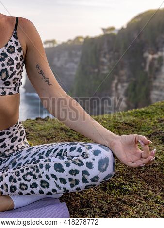 Close Up Gyan Mudra. Half Of Lotus Pose, Padmasana. Focus On Fingers. Yoga Retreat. Woman Sitting On