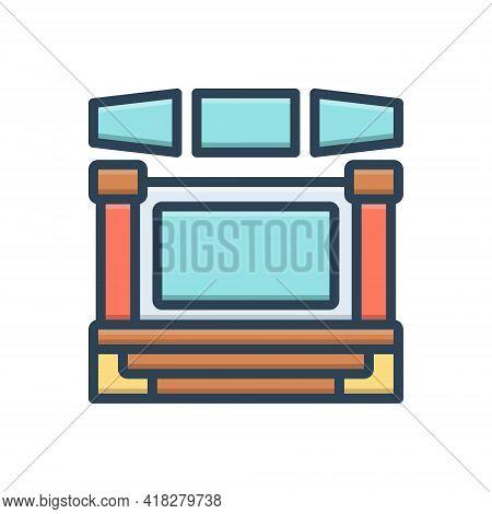 Color Illustration Icon For Display  Demonstration  Show  Release  Manifestation Presentation
