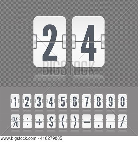 Vintage Symbols Time Meter Vector Template. Flip Numbers Font Time Counter Information Page. White A