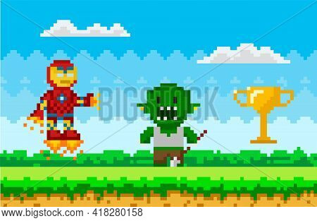 Flying Iron Man Near Unknown Evil Monster. Pixelated Cartoon Robot Is Fighting Zombie. Pixel Game De