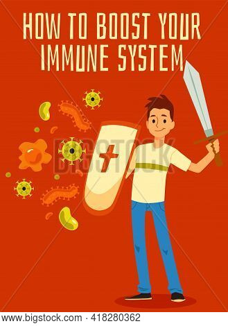 Strengthened Immune System Concept A Medical Flat Vector Poster.