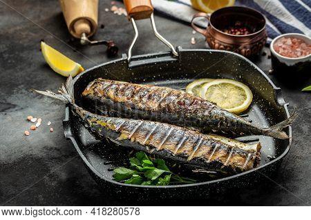 Japan Dish Mackerel Fish With Lemon, Scomber Roast, Mackerel Roast, Blue Mackerel Roast, Japanese Ma