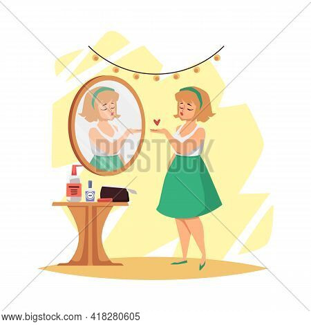 Woman Satisfied With Her Appearance In Mirror Flat Vector Illustration Isolated.