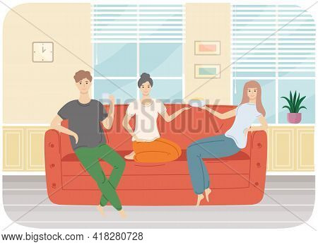 Friends Relaxing Together. Man And Women Spend Time In Living Room. Interior Design Sitting-room. Pe