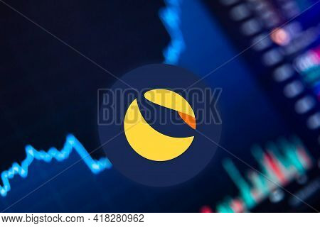 Terra Luna Cryptocurrency. Bitcoin Coin Growth Chart On The Exchange, Chart