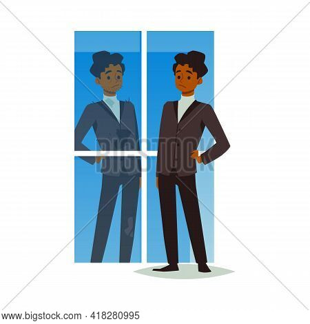 Male Looking At His Reflection With Self Hate And Negative Self Acceptance.