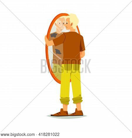 Man Is Dissatisfied With His Appearance, Cartoon Vector Illustration Isolated.