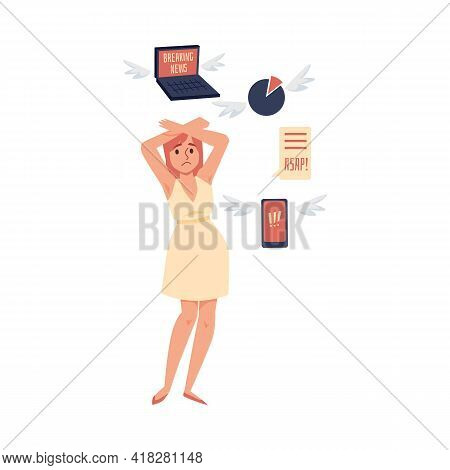Woman Trying To Defend Herself From Information, Vector Illustration Isolated.