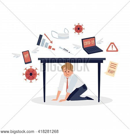 Overloading Of Information Man In Stress Tries To Hide Under Table.
