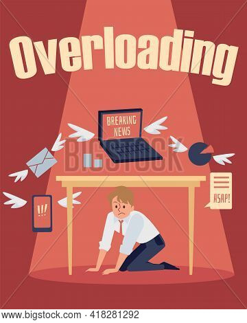 Information Overload With Man Hiding Of News Stream, Flat Vector Illustration.