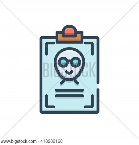 Color Illustration Icon For Name Title First-name Appellation Sobriquet Id-card Identity