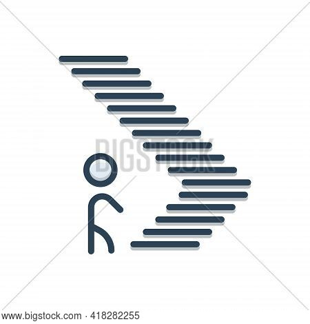 Color Illustration Icon For Step Climb Footstep Walk Ladder Iterance