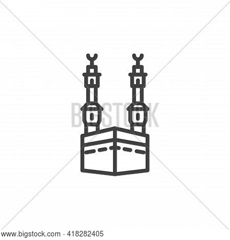 Kaaba Mosque Line Icon. Linear Style Sign For Mobile Concept And Web Design. Mosque Minaret Outline