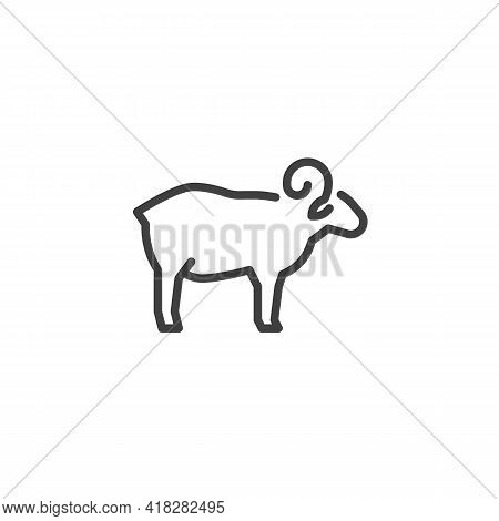 Sheep, Lamb Line Icon. Linear Style Sign For Mobile Concept And Web Design. Lamb, Mutton Outline Vec