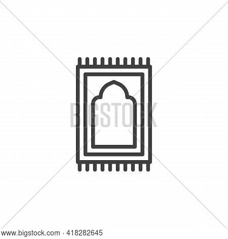 Prayer Rug Line Icon. Linear Style Sign For Mobile Concept And Web Design. Namaz Praying Rug Outline