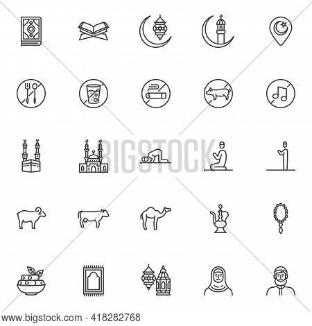 Ramadan Kareem Line Icons Set. Islamic Related Linear Style Symbols Collection Outline Signs Pack. V