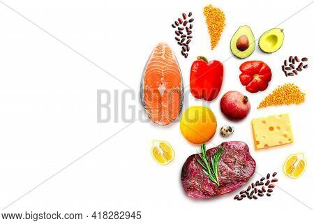 Healthy Food On A White Background.healthy Food Ingredients Isolated.salmon On A White Background.st