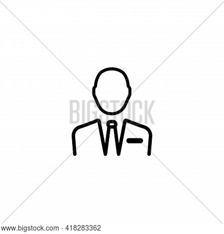 Advocate Or Lawyer Thin Black Line Icon - Default Businessman Profile Avatar. Trendy Flat Isolated S