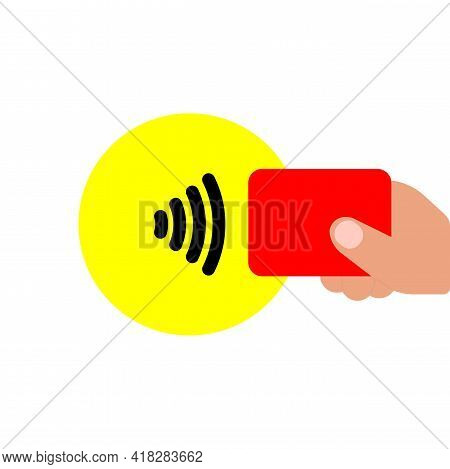 Contactless Nfc Payment Line Icon In Color, Rfid Credit Card, Wireless Pay Simple Minimalistic Illus