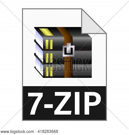 Modern Flat Design Of 7-zip File Icon For Web