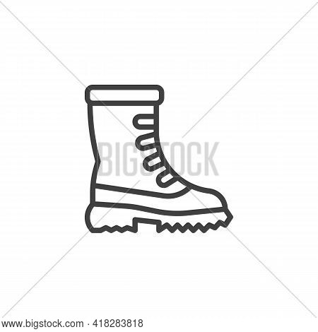 Snow Boots Line Icon. Linear Style Sign For Mobile Concept And Web Design. Winter Boots Outline Vect