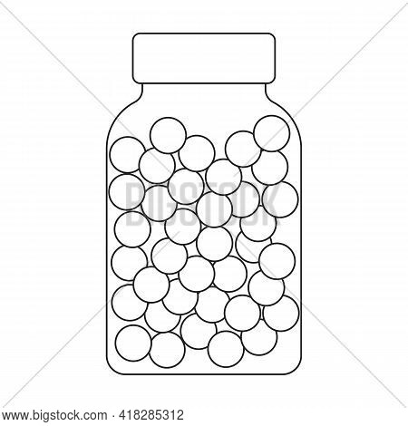 Oil Fish Vector Outline Icon. Vector Illustration Omega Acids On White Background. Isolated Outline