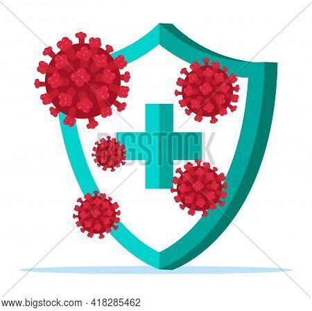 Security Shield For Virus Protection. Stop Coronavirus. Virus 2019 Ncov, Pathogenic Microorganism. B