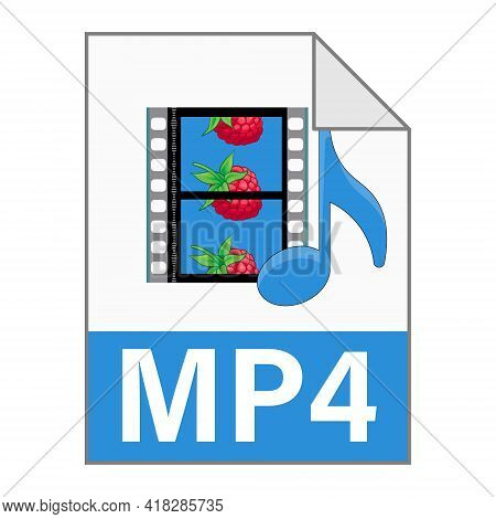 Modern Flat Design Of Mp4 File Icon For Web