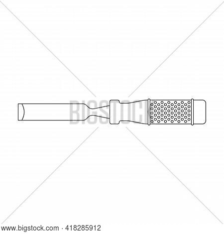 Chisel Vector Outline Icon. Vector Illustration Tool On White Background. Isolated Outline Illustrat