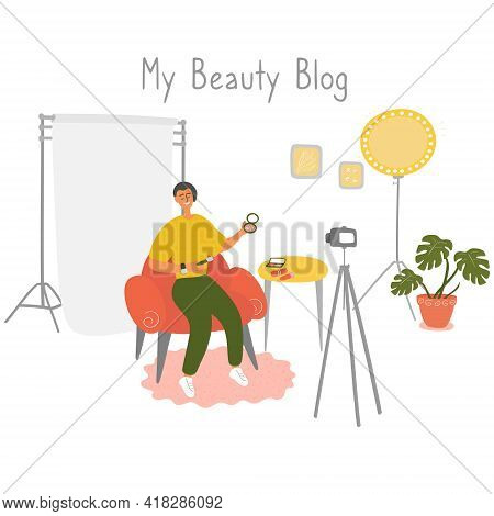 Influencer Guy Shoots Cosmetics Product Review. Male Beauty Blogger Filming Makeup Tutorial On Camer