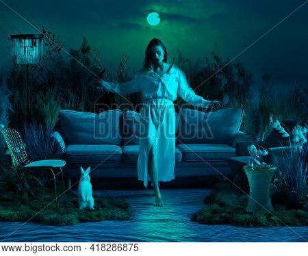 Beautiful Fantasy Girl In Her Dreams Walks In The Night On A Moonlit Path On The Water. Art Photogra