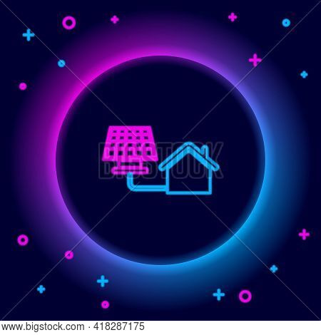 Glowing Neon Line House With Solar Panel Icon Isolated On Black Background. Ecology, Solar Renewable